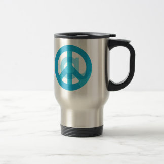 Blue @Peace Sign Social Media At Symbol Peace Sign 15 Oz Stainless Steel Travel Mug
