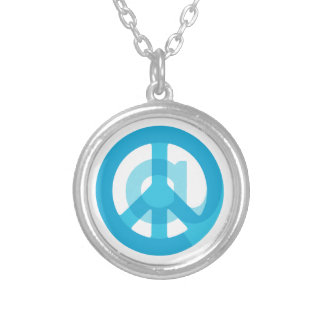 Blue @Peace Sign Social Media At Symbol Peace Sign Silver Plated Necklace