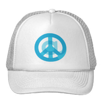 Blue @Peace Sign Social Media At Symbol Peace Sign Trucker Hat