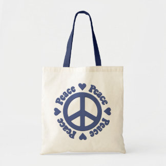 Blue Peace Sign Tote Bag