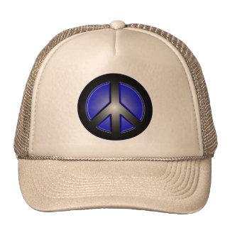 blue peace sign trucker hat