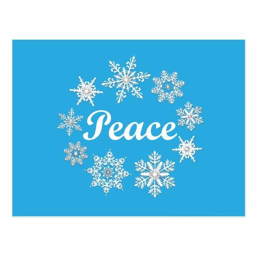 Blue Peace Snowflakes Postcard