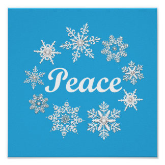 Blue Peace Snowflakes Poster