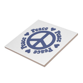 Blue Peace Symbol Ceramic Tile