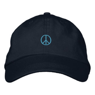 Blue Peace Symbol Embroidered Hat