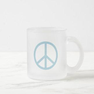 Blue Peace Symbol Frosted Glass Mug