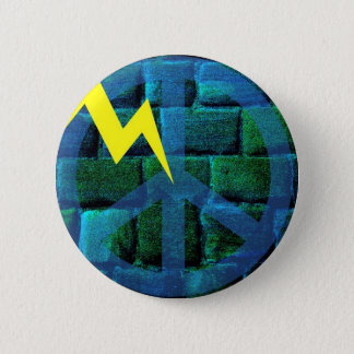 Blue Peace Symbol Hit by Lightning 2 Inch Round Button