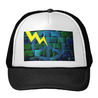 Blue Peace Symbol Hit by Lightning Mesh Hats