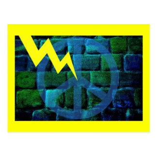 Blue Peace Symbol Hit by Lightning Postcard