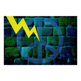 Blue Peace Symbol Hit by Lightning Print