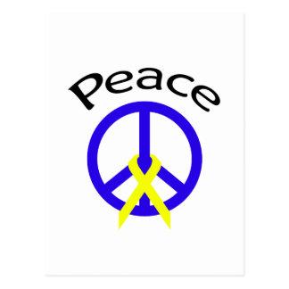 Blue Peace Word & Ribbon Post Card