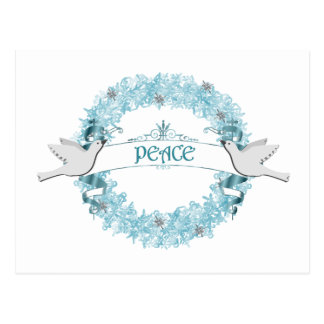 Blue Peace Wreath with Doves Postcard