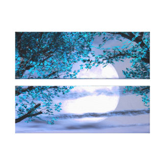 Blue Peaceful Trees Stretched Canvas Print