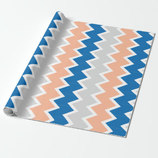 Blue peach and gray chevron Wrapping paper