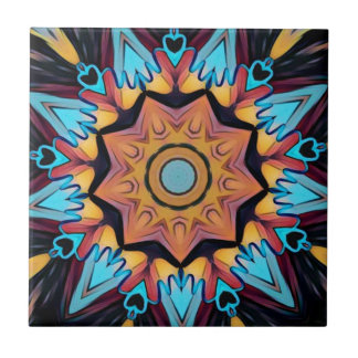 Blue Peach Artistic Mandala Tile