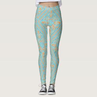 Blue Peach Diamond Floral Paisley Pants Leggings