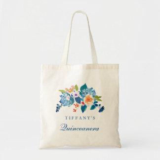 Blue & Peach Floral Quinceanera Tote Bag