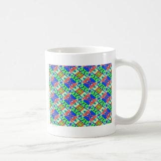 Blue Peach Lime Plaid Design Mug