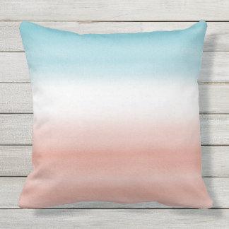 Blue Peach Ombre Outdoor Pillow