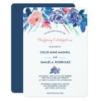 Blue Peach Roses Bouquet Border Wedding Invitation