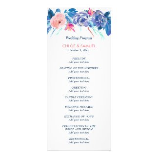 Blue Peach Roses Bouquet Wedding Program
