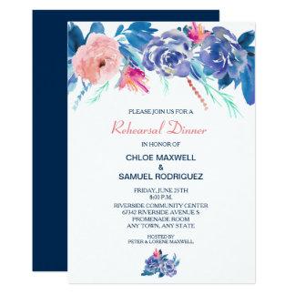 Blue Peach Roses Bouquet Wedding Rehearsal Dinner Card