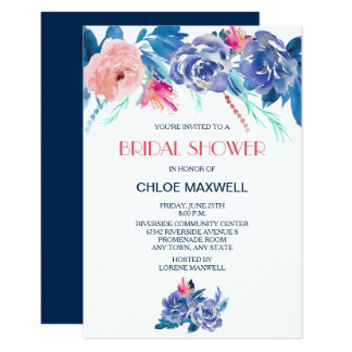 Blue Peach Roses Bridal Shower Card