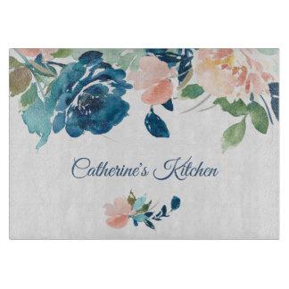 Blue Peach Roses Personalized Cutting Board