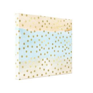 Blue Peach Watercolor Gold Confetti Dots Stripes Canvas Print