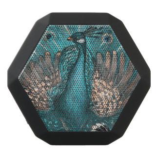 blue peacock black bluetooth speaker