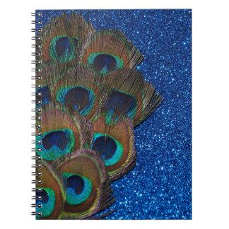 Blue Peacock Bouquet Glittery Still Life Notebooks