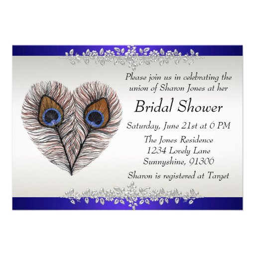 Blue Peacock Bridal Shower Announcement