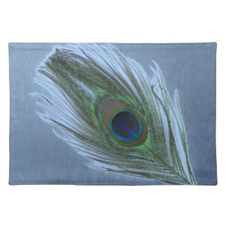 Blue Peacock Feather D Place Mats