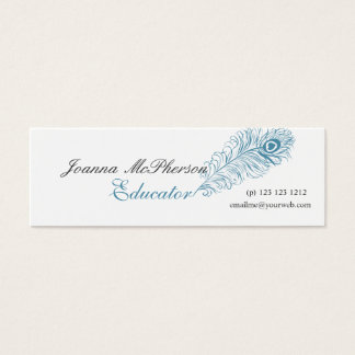 Blue Peacock Feather Professional Modern Writing Mini Business Card