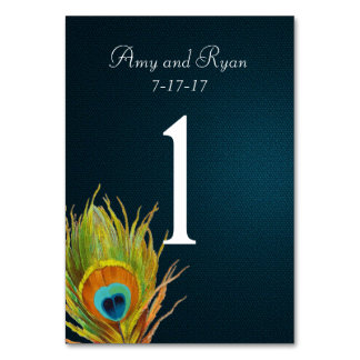 Blue Peacock Feather Table Number Card