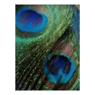 Blue Peacock Feather with Stained Glass Effect Poster