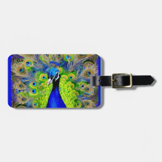 Blue  Peacock Feathers Design Luggage Tag