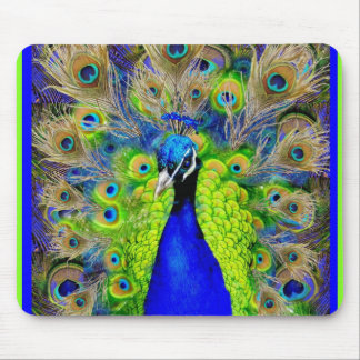 Blue  Peacock Feathers Design Mouse Pad