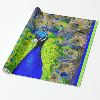 Blue  Peacock Feathers Design Wrapping Paper