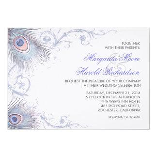 blue peacock feathers vintage wedding invitations