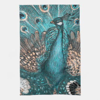 blue peacock kitchen towel