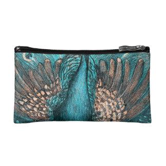 blue peacock makeup bag
