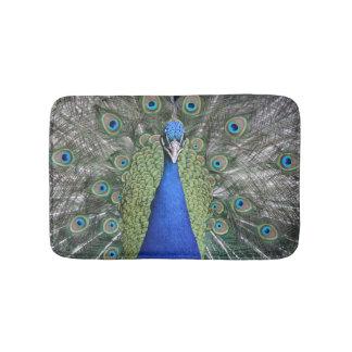 Blue Peacock Portrait Bath Mat