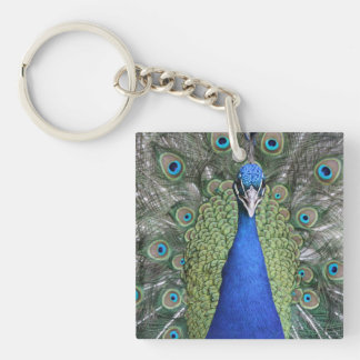 Blue Peacock Portrait Keychain