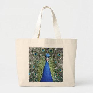 Blue Peacock Portrait Large Tote Bag