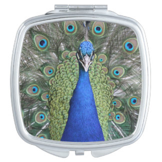 Blue Peacock Portrait Travel Mirror