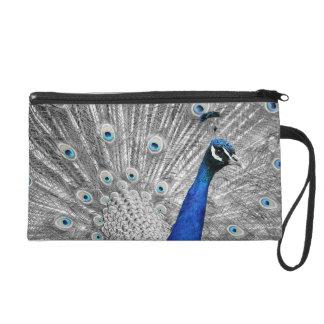 Blue Peacock Satin Clutch Bag Wristlet