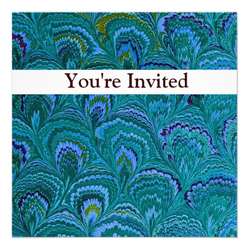 Blue Peacock Swirl Birthday Invitation