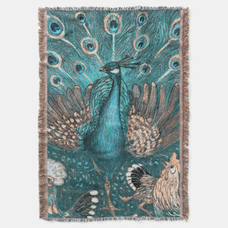 blue peacock throw blanket