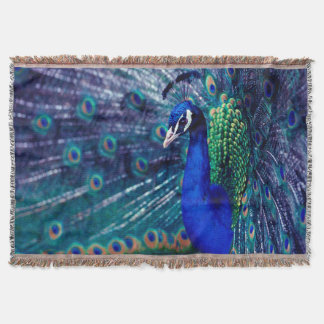 Blue Peacock Throw Blanket